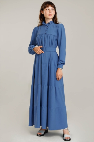 Zulays - Yakası Fırfırlı Beli Kemerli Elbise İndigo