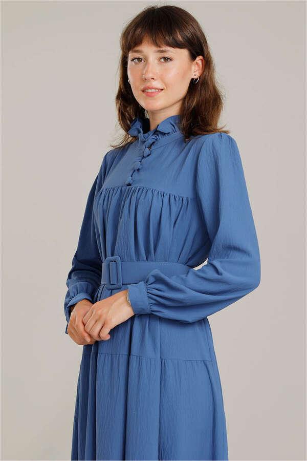 Yakası Fırfırlı Beli Kemerli Elbise İndigo