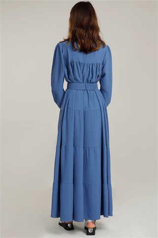 Yakası Fırfırlı Beli Kemerli Elbise İndigo - Thumbnail