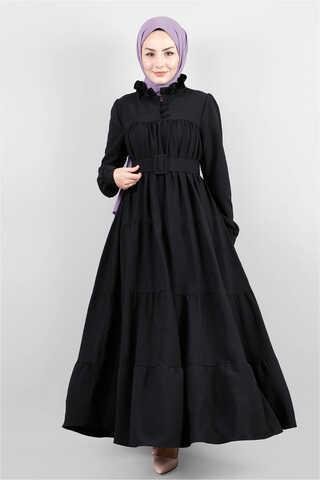 Zulays - Yakası Fırfırlı Beli Kemerli Elbise Siyah