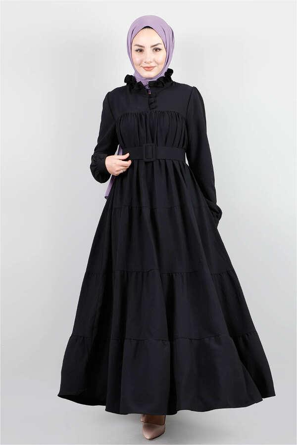 Yakası Fırfırlı Beli Kemerli Elbise Siyah