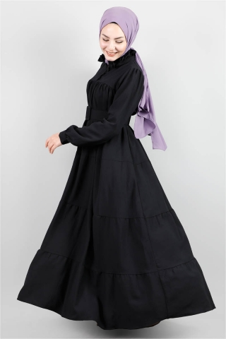 Yakası Fırfırlı Beli Kemerli Elbise Siyah - Thumbnail