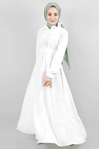 Zulays - Yakası Fırfırlı Beli Kemerli Elbise Beyaz