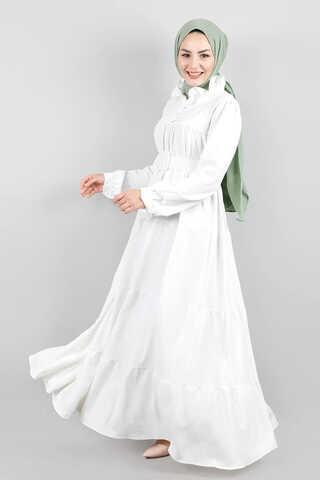 Yakası Fırfırlı Beli Kemerli Elbise Beyaz - Thumbnail