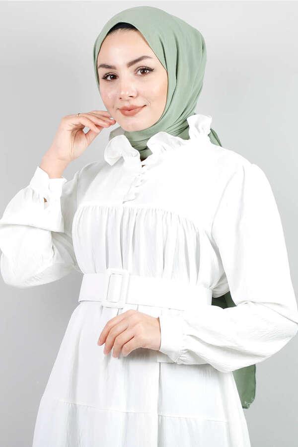Yakası Fırfırlı Beli Kemerli Elbise Beyaz