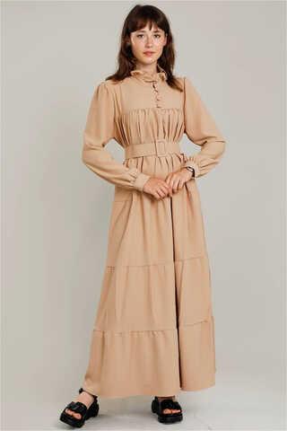 Zulays - Yakası Fırfırlı Beli Kemerli Elbise Camel