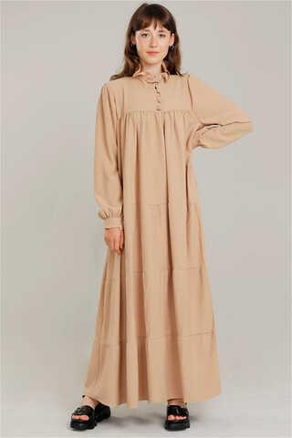 Yakası Fırfırlı Beli Kemerli Elbise Camel - Thumbnail