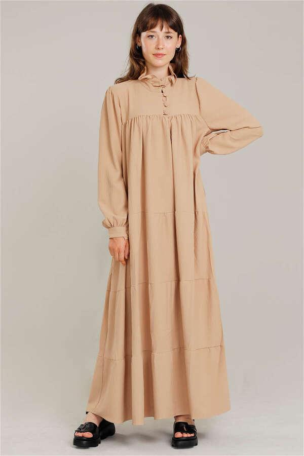 Yakası Fırfırlı Beli Kemerli Elbise Camel