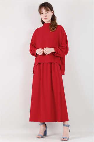 QUQA - Yandan Bağlamalı Gömlek Etek Takım Kırmızı