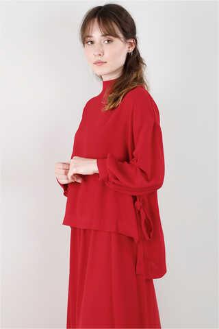 Yandan Bağlamalı Gömlek Etek Takım Kırmızı - Thumbnail