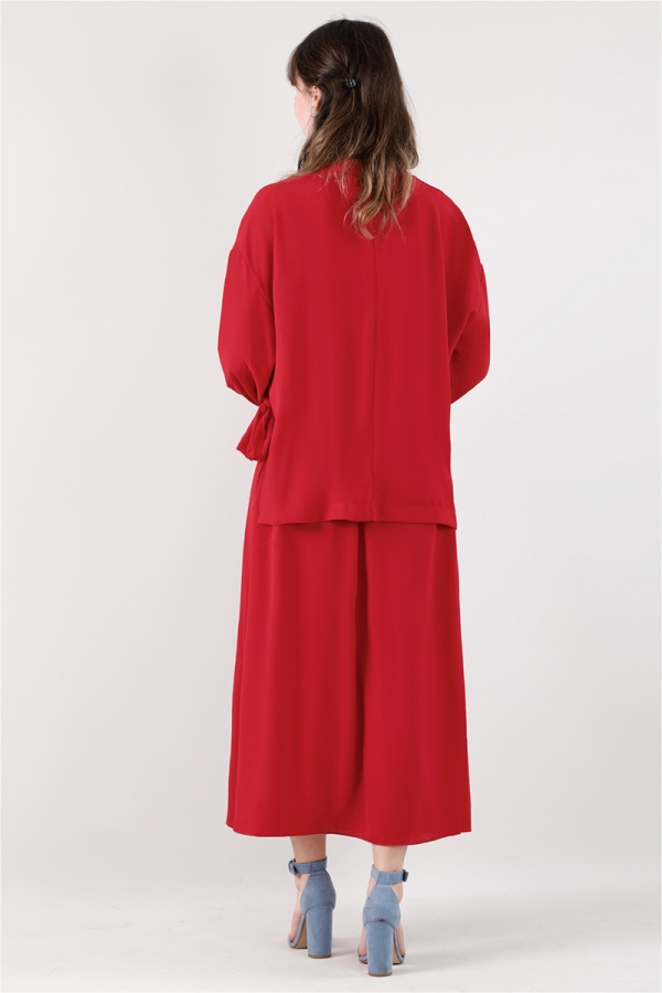 Yandan Bağlamalı Gömlek Etek Takım Kırmızı