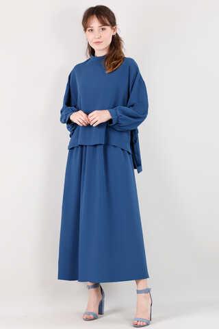 QUQA - Yandan Bağlamalı Gömlek Etek Takım Saks Mavisi