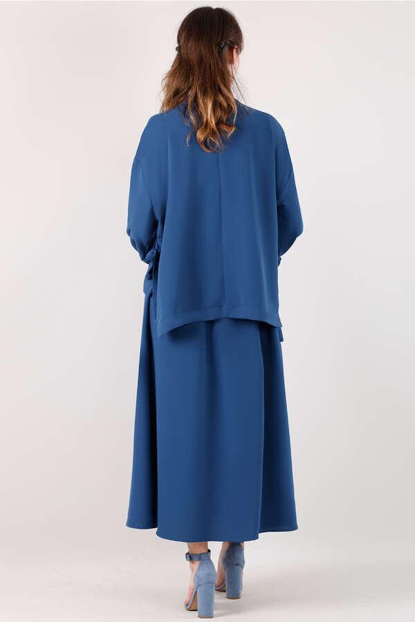 Yandan Bağlamalı Gömlek Etek Takım Saks Mavisi