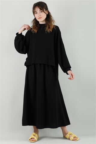 QUQA - Yandan Bağlamalı Gömlek Etek Takım Siyah