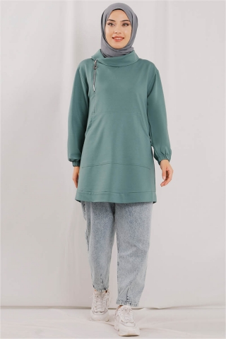 Zulays - Yandan Fermuarlı Mint Sweatshirt