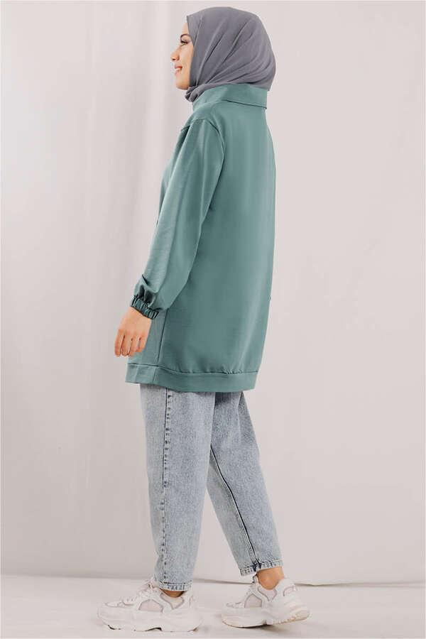 Yandan Fermuarlı Mint Sweatshirt