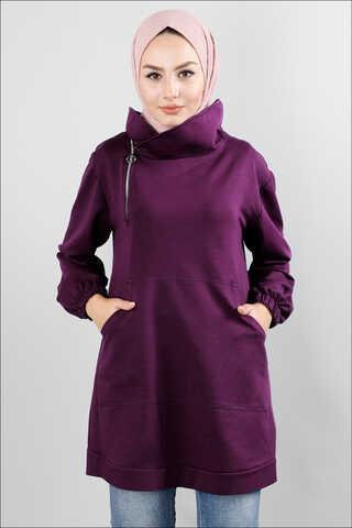 Zulays - Yandan Fermuarlı Mor Sweatshirt