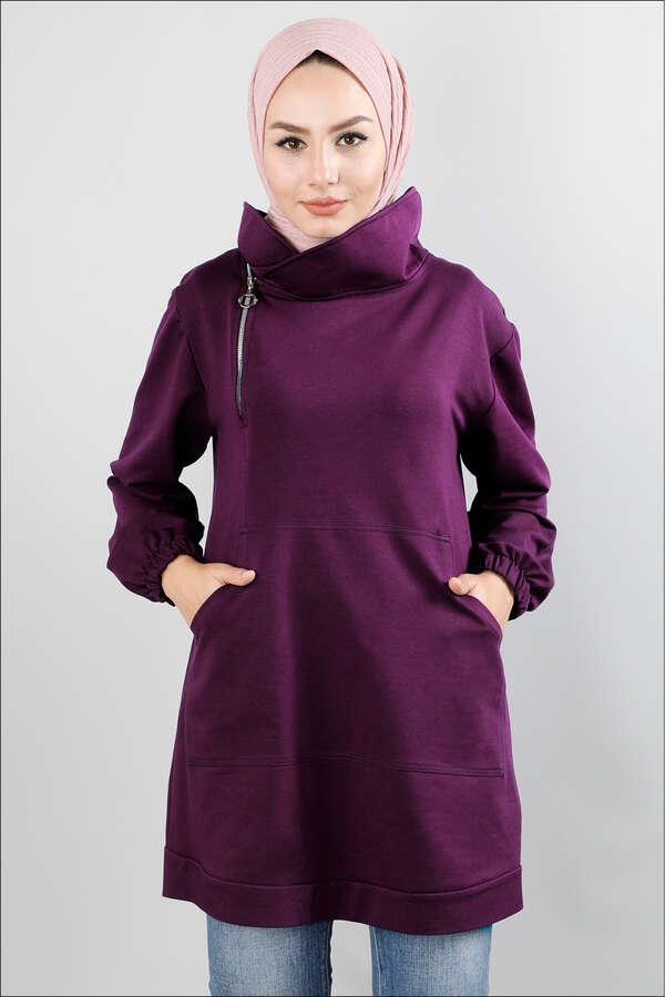 Yandan Fermuarlı Mor Sweatshirt