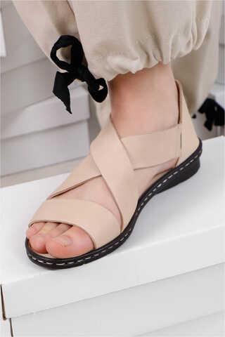 Flat Sandalet Bej - Thumbnail