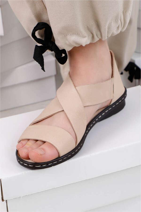Flat Sandalet Bej