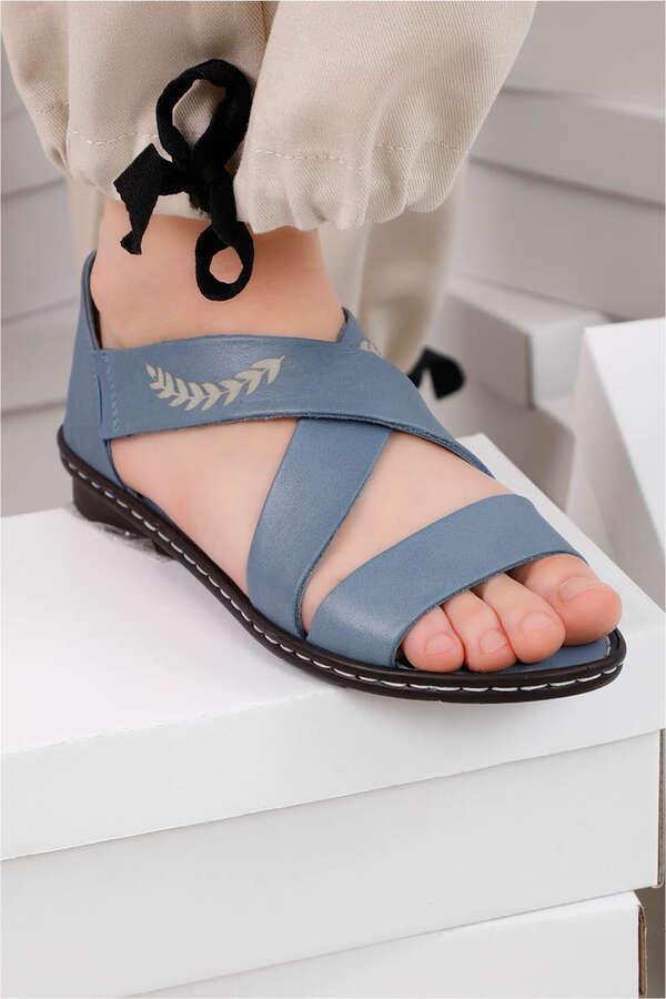 Yaprak Sandalet İndigo