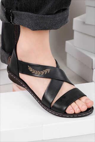 - Yaprak Sandalet Siyah