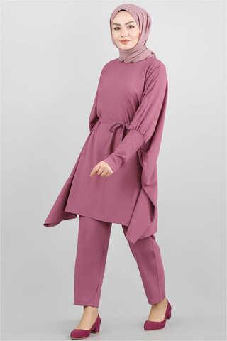 Zulays - Yarasa Kol Pantolonlu Takım Gül Kurusu