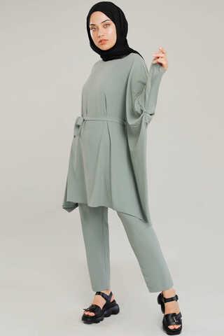 Zulays - Yarasa Kol Pantolonlu Takım Mint