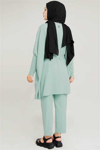 Yarasa Kol Pantolonlu Takım Su Yeşili - Thumbnail
