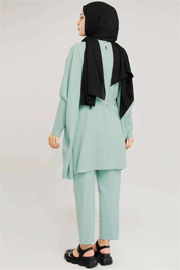 Yarasa Kol Pantolonlu Takım Su Yeşili