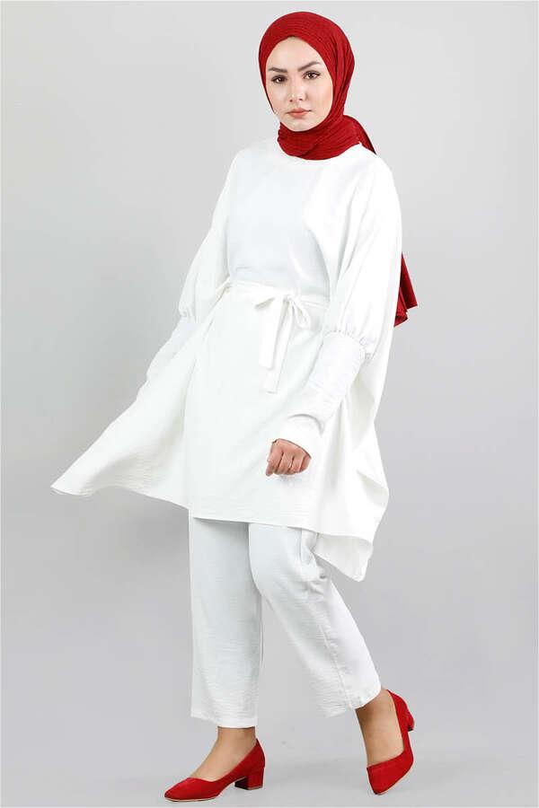Yarasa Kol Pantolonlu Takım Beyaz