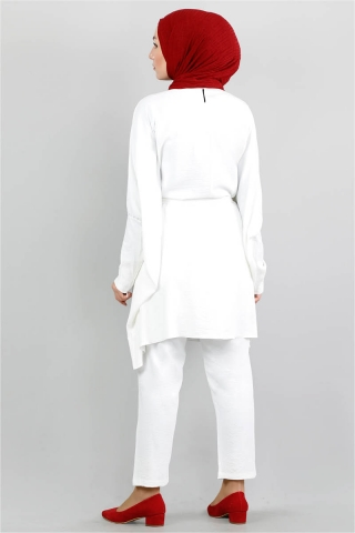 Yarasa Kol Pantolonlu Takım Beyaz - Thumbnail