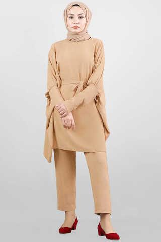 - Yarasa Kol Pantolonlu Takım Camel