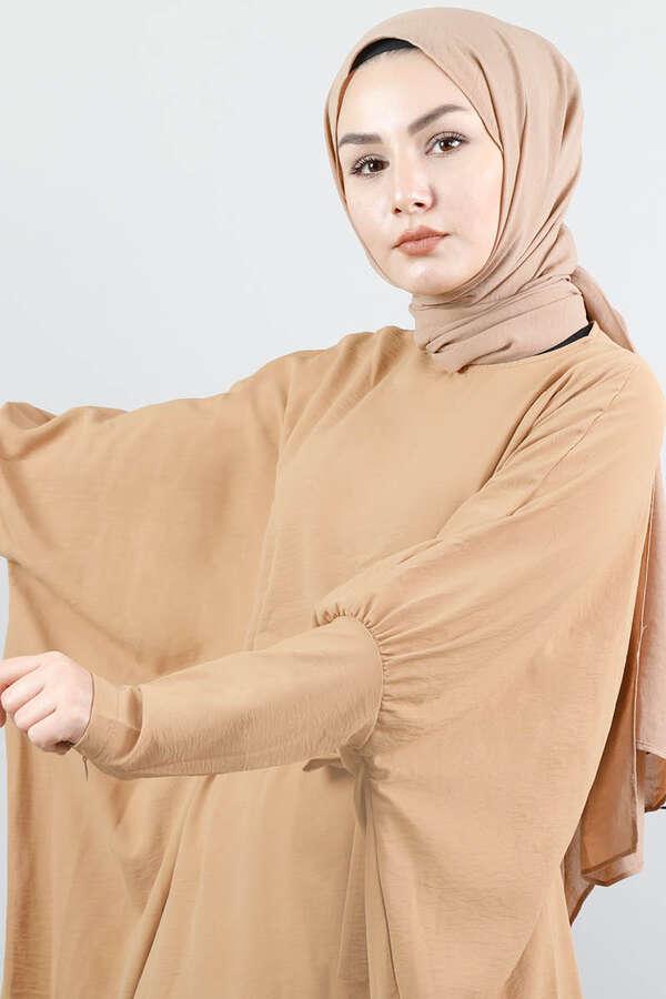 Yarasa Kol Pantolonlu Takım Camel