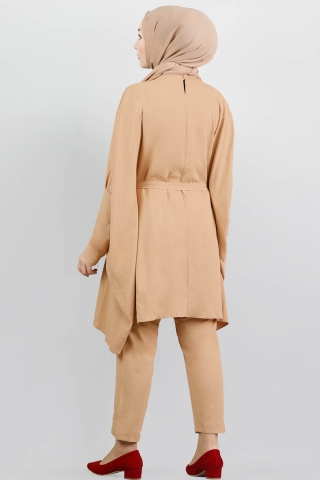 Yarasa Kol Pantolonlu Takım Camel - Thumbnail