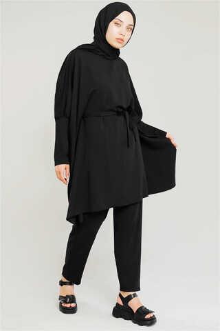 Zulays - Yarasa Kol Pantolonlu Takım Siyah
