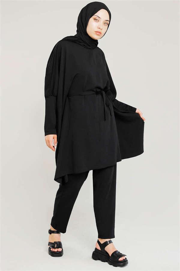 Yarasa Kol Pantolonlu Takım Siyah