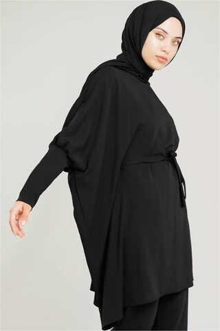 Yarasa Kol Pantolonlu Takım Siyah - Thumbnail