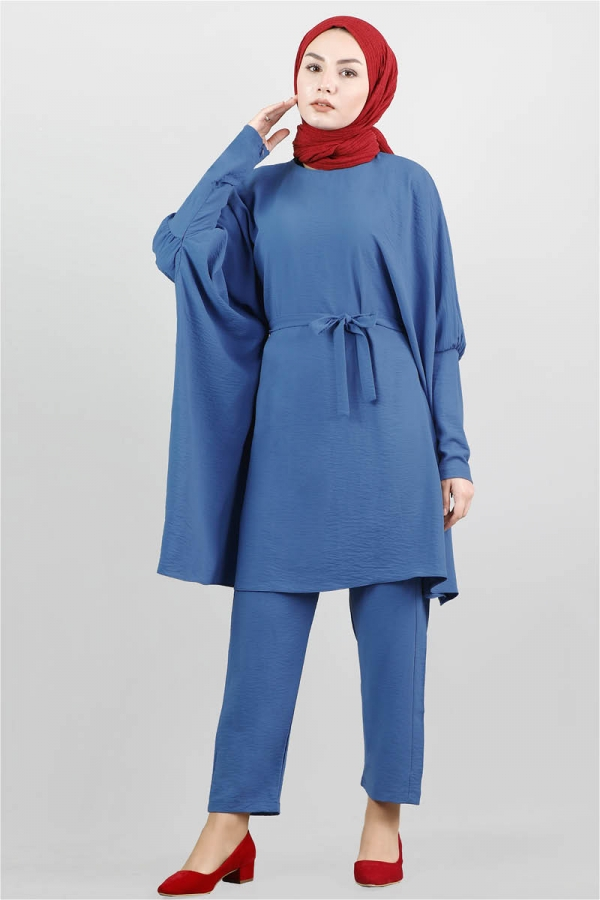 Yarasa Kol Pantolonlu Takım İndigo