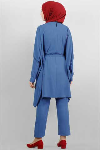 Yarasa Kol Pantolonlu Takım İndigo - Thumbnail