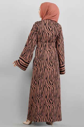 Zebra Desen Kimono Kiremit - Thumbnail