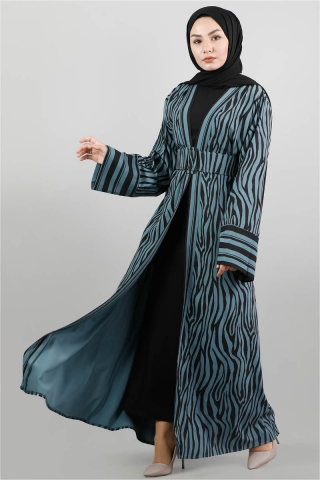 Zebra Desen Kimono Petrol - Thumbnail