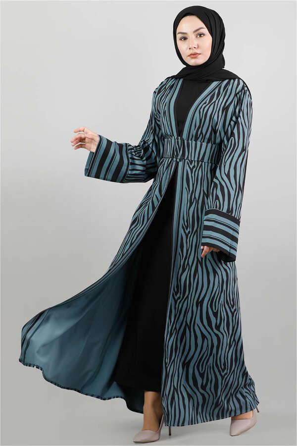 Zebra Desen Kimono Petrol