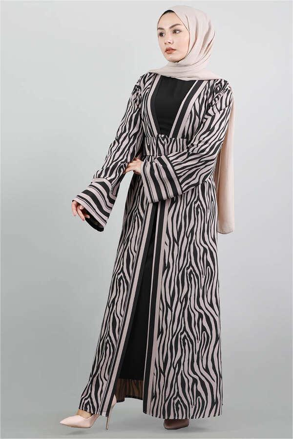 Zebra Desen Kimono Vizon