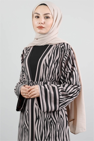 Zebra Desen Kimono Vizon - Thumbnail